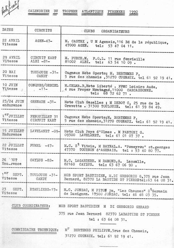 calendrier du trophée atlantique pyrenees 1990