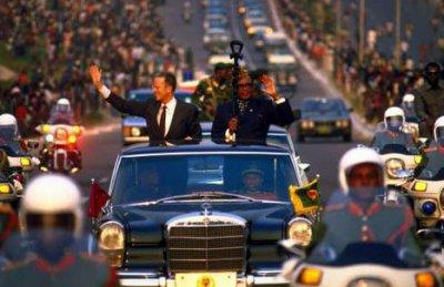 Le roi des Belges Baudoin et Mobutu.