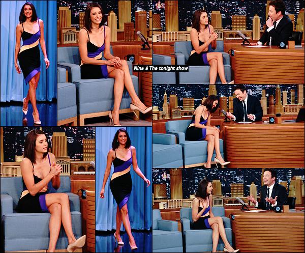 """_ 17/01/2017 •Nina était invitée  sur le plateau """"the tonight show de Jimmy Fallon"""",J'aime sa robe et vous ?  _"""