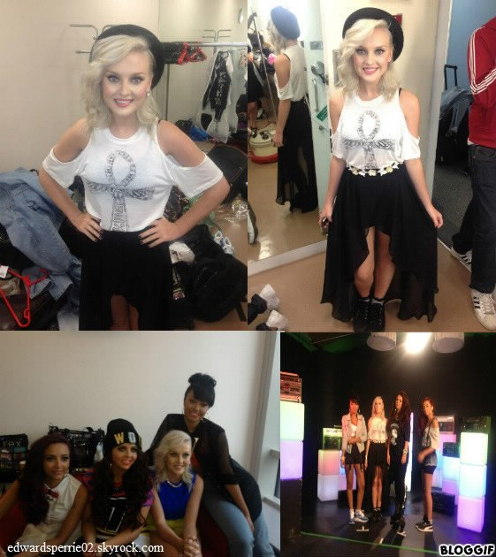 Le 15/08/12 Little Mix arrêté par X Factor studios pour le Chat X Factor Chart Show.