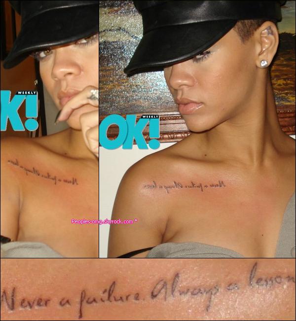 Rihanna et son nouveau tatouage a l 39 envers rihanna a for Se voir dans un miroir