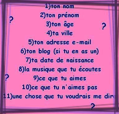 Petit questionnaire ^^