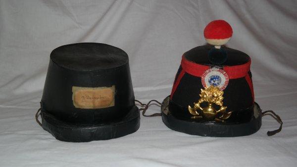 superbe shako pompier du 2 eme  empire modifier 3 eme   république 1870