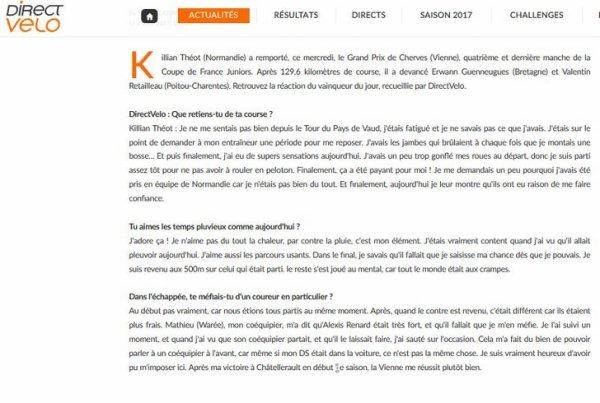 Killian Théot : « La pluie, mon élément »  / ARTICLE DE DIRECTVELO / Killian vainqueur de la 4ème manche de la coupe de France