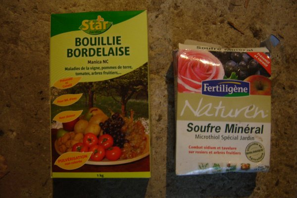 Bouillie bordelaise (cuivre) + soufre mouillable