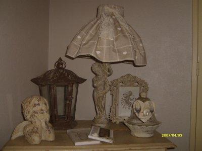 Lampe Patinée Et Housse D Abat Jour Decoration Brocante