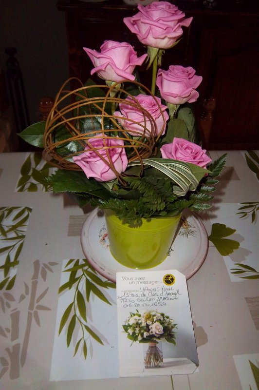 composition de roses offert par ma fille ainée pour la fête des mères