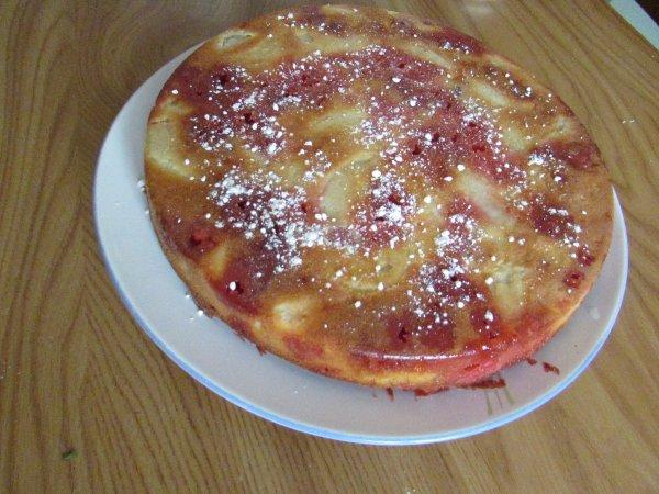 gâteau aux poires amandes et pralines roses recette sur le blog quand nad cuisine