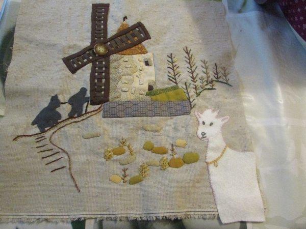 bloc 2 le moulin de Daudet suite de mon patchwork le chant des cigales