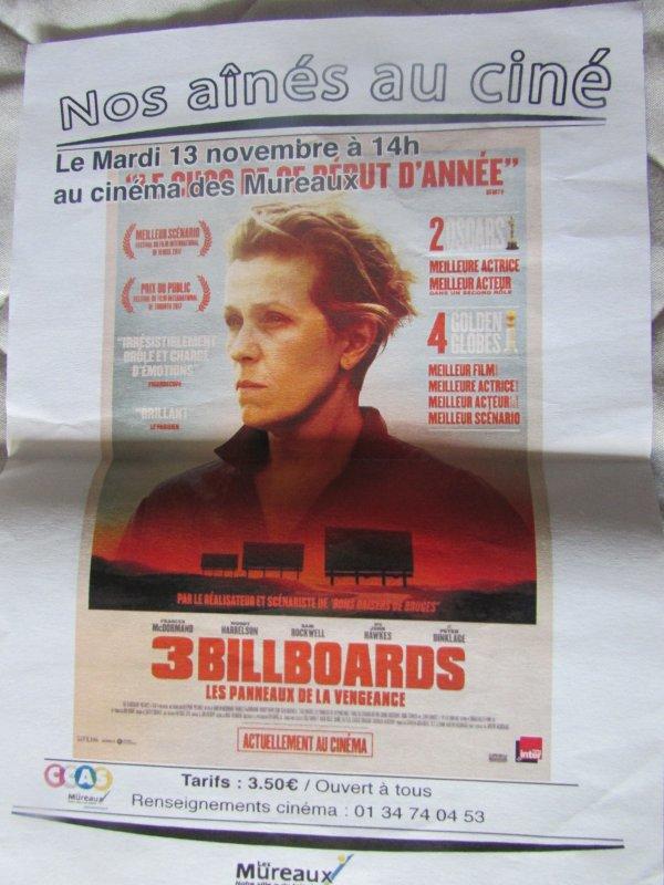 sortie au cinéma des aînés  cette semaine 3 billboards; drame américain avec Frances Mcdormand
