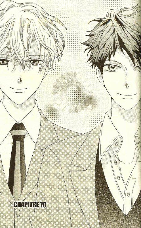Tamaki (Suo) to Hikaru (Hitachiin). Suite à de nombreux évènements, ce dernier s'est teind les cheveux pour se différencier de son frère. A l'heure actuelle, c'est le concurrent le plus sérieux de Tamaki (niveau amour), d'où cette splendide image de chapitre... lOve lOve!