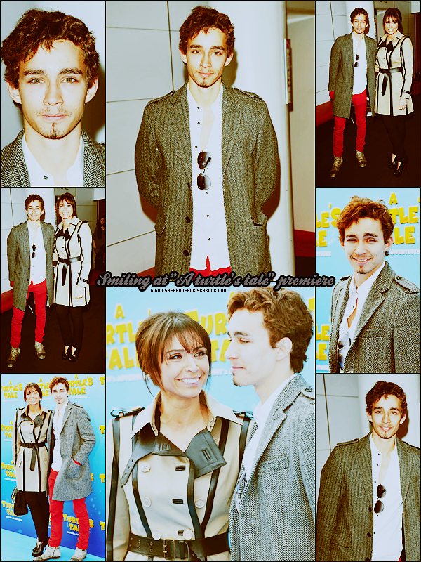 """Le 21 mars, Rob a assisté à l'avant première du film """"A Turtle's Tale"""" dans lequel il double l'un des personnages. Classe."""