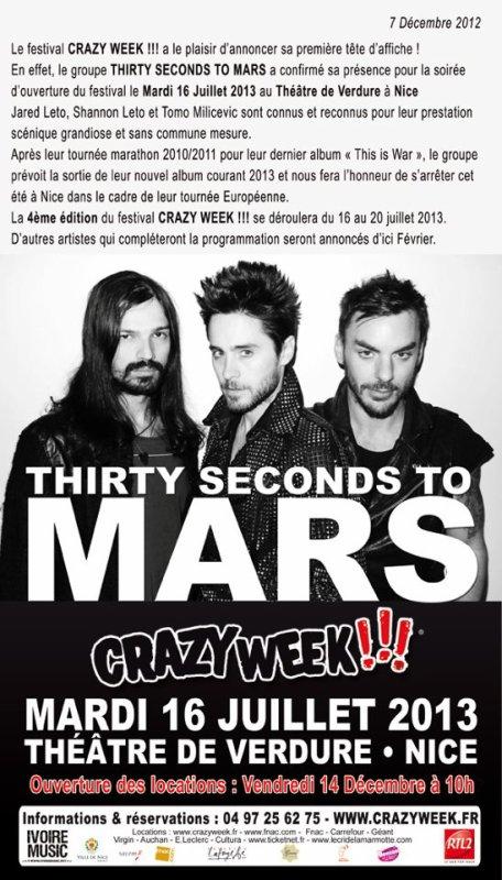 Nice: Thirty Seconds to Mars, tête d'affiche du prochain Crazy Week !