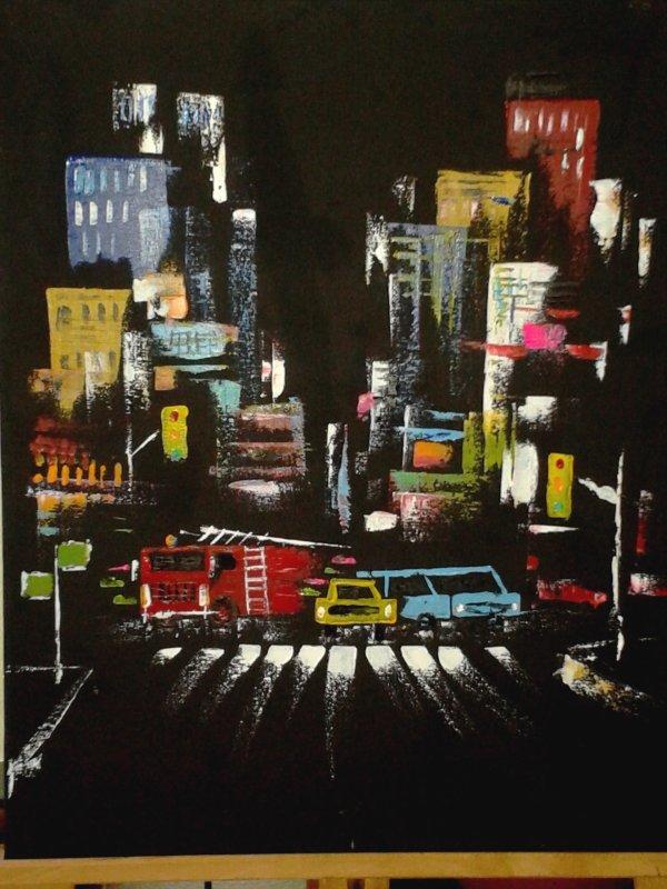 Bouchon au carrefour d'une avenue NewYorkaise (huile aux couteaux sur toile de 40/50cm)