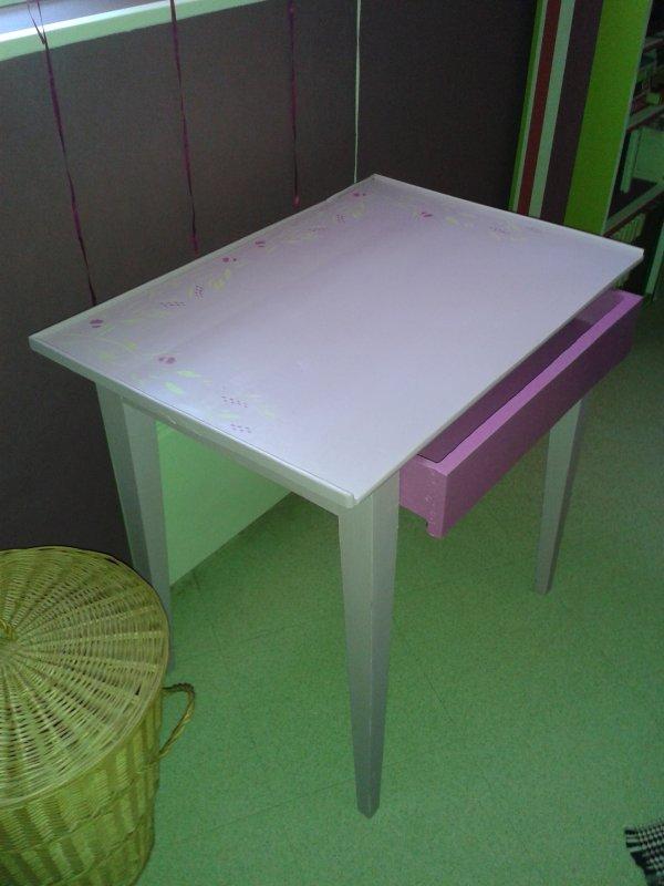 Bureau et chaise relookés. Accroche meuble, satinelle de différentes couleurs, pochoirs à l'huile, vitrificateur ect...