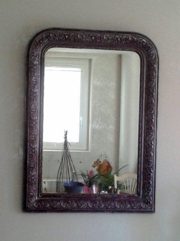 Miroir, accroche meuble, satinelle aubergine, brossé aluminium, vitrificateur...