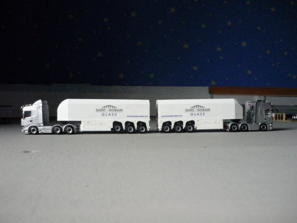 Scania R730 + porte verre Saint Gobain