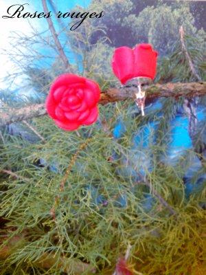 """Boucles d'oreilles : """"Roses rouges"""""""