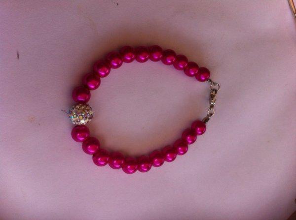 Bracelet rose et strass