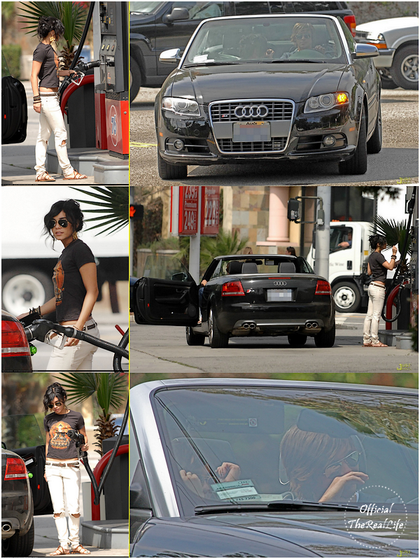 © Official-TheRealLife™  19/03/09  ※  Vanessa mettant de l'essence dans Los Angeles avec Zac coté conducteur.  _