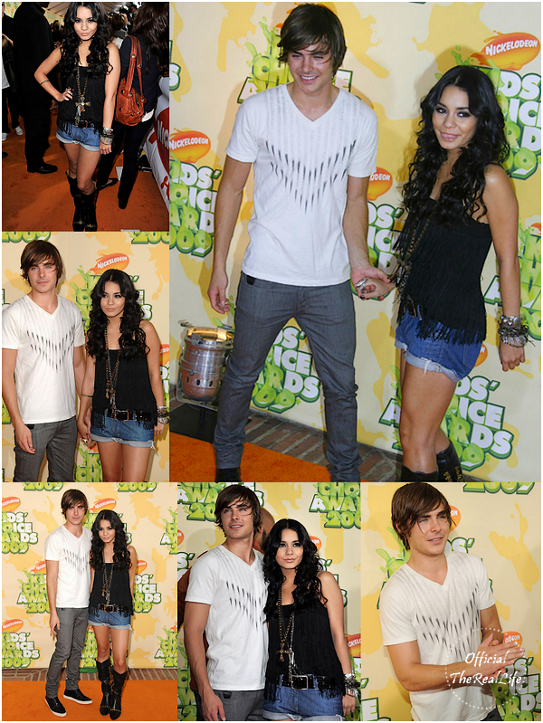 © Official-TheRealLife™  28/03/09  ※  Vanessa & Zac toujours sur le orange carpet des Kid's Choice Awards à Los Angeles.  _