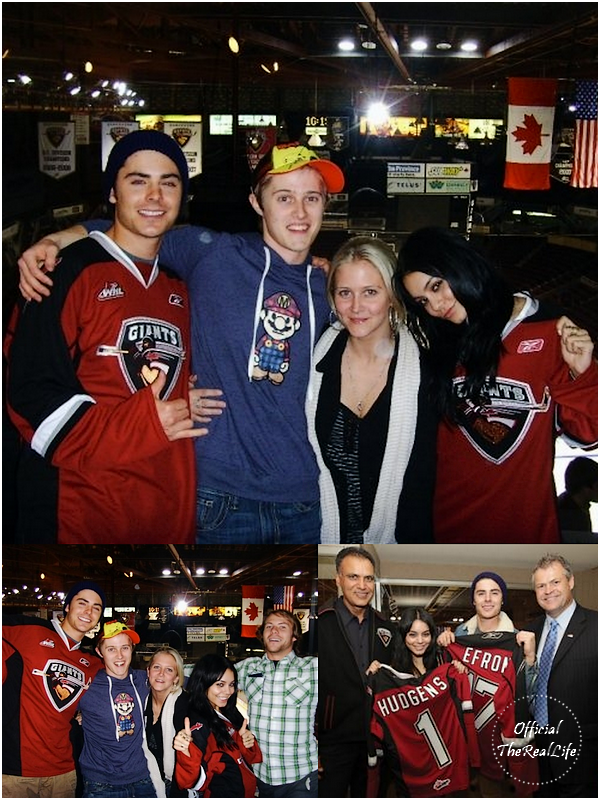 © Official-TheRealLife™  16/10/09  ※  Vanessa, Zac & Lucas Grabeel à un match de Hockey à Vancouver, Canada.  _