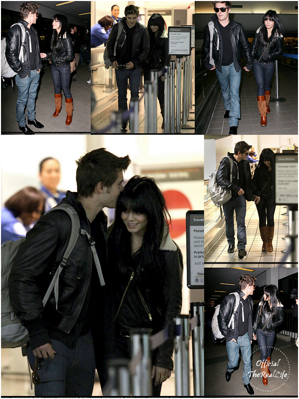 © Official-TheRealLife™  11/12/09  ※  Vanessa & Zac arrivant à L.A.X Airport à Los Angeles mains dans la mains.  _