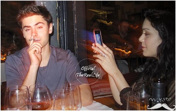 © Official-TheRealLife™  05/022/10  ※  Zanessa et leurs ami(e)s ont posé avec le logo de Mr.Kate au restaurant à Los Angeles.  _