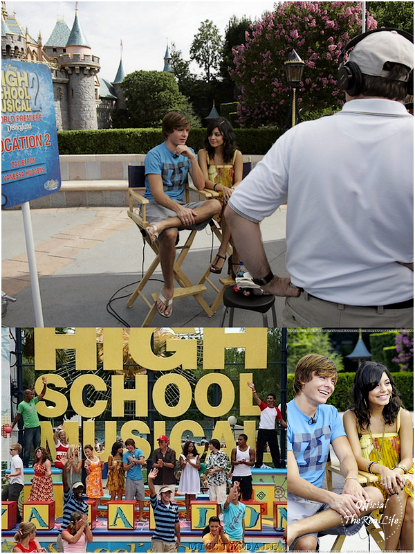 © Official-TheRealLife™  14/08/2007  ※  Zac et Vanessa à la Press Conférence d'High School Musical 2 avec le cast à Disney, Los Angeles.  _