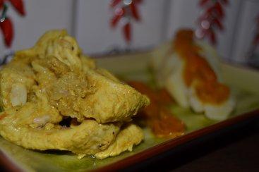 Aiguillettes de dinde marinées au curry et pommes de terre