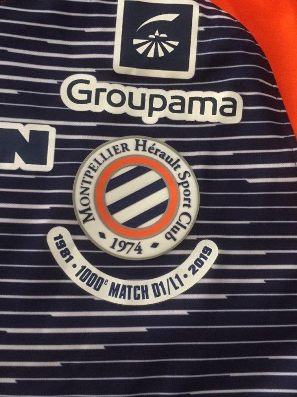 Maillot 254 Montpellier 1000 match en ligue 1 Andy delort merci beaucoup