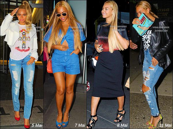 """- -------« RATTRAPAGE DES NEWS » - 5 Mai - Après cette imporante soirée Beyonce Knowles, a été vu quittant le le bâtiment ou elle réside à New York City. 7 Mai - Lunette de soleil sur les yeux, tenue estival, la diva a été vu quittant le bâtiment ou elle réside à New York City. 8 Mai - A été vu arrivant/quittant son appartement et ensuite arrivant au ''Charlie Bird'' avec son mari Jay-Z à NY. 11 Mai - A été vu quittant son appart, quittant """"SIR' Rehearsal Studios"""" et arrivant/quittant le resto' """"Bar Pitti"""" à NY. 12 Mai - Suivi de  Solange, et de son mari Jay Z, la chanteuse a été vu quittant le restaurant """"ABC Kitchen"""" à New York. -------- Habiller quasiment tout en blanc Beyonce Knowles a été vu quittant le bâtiment ou elle réside à New York City. 13 Mai - Beyonce souriant et magnifique a été vu arrivant au « Hillary Clinton Campaign Event » à New York City ! 14 Mai -  Vu arrivant/quittant son bâtiment et arrivant/quittant """"SIR' Rehearsal Studios"""" toujours à New York City. -"""