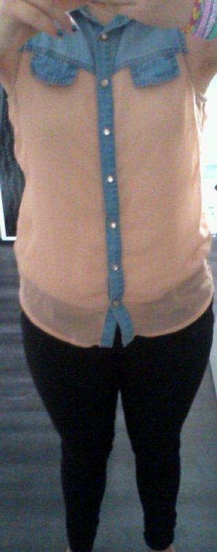 Tenue petit chemisier en tissu saumon et jeans elastique noir jeans: fashion & style chemisier : cool cat