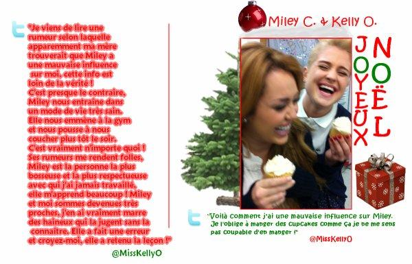 New : Kelly Osbourne a posté un message pour défendre Miley vis à vis de certaine personnes, après ça, elle a posté une photo d'elle et de la Cyrus, avec un message ironique !
