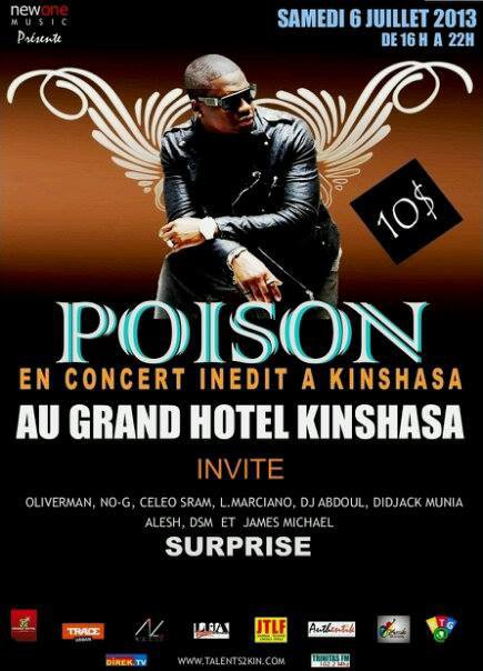 POISON en concert à Kinshasa (RDC) ce 06 juillet au GHK