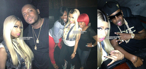 """. 8th June  - En sortie avec SB et ses amis, Nicki s'est rendu ce soir même en boîte """"Amnesia"""" sur New York.- Un jolie TOP pour notre Nicki qui s'est habillé en mode Casual : Haut imprimé, veste en jean, legging et Jordans. 1 - 2 - 3  ."""