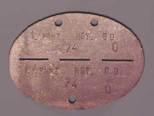 Les plaques d'identité Allemandes des Panzertruppen.