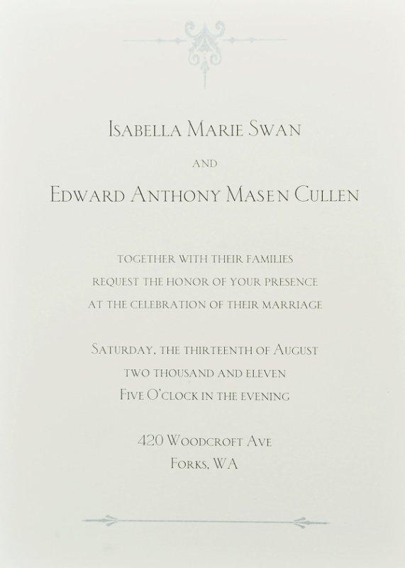 invitation au mariage d'edward cullen et de bella swan