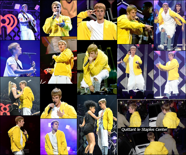 "- 02/12/2016 : Justin B. a performé au "" 102.7 KIIS FM'S Jingle Ball "" au Staples Center à LA, en Californie. Le chanteur canadien a chanté plusieurs de ses musiques tel que Where Are Ü Now, What Do You Mean, Love Yourself & Sorry. -"