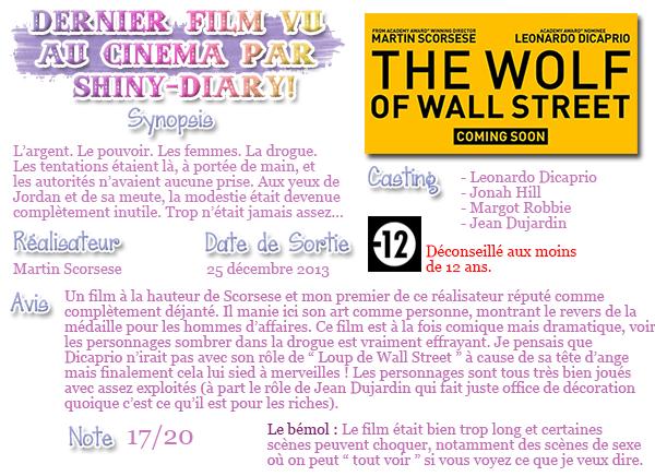 ♦ Mon dernier film vu au cinéma : Le Loup de Wall Street VOSTFR
