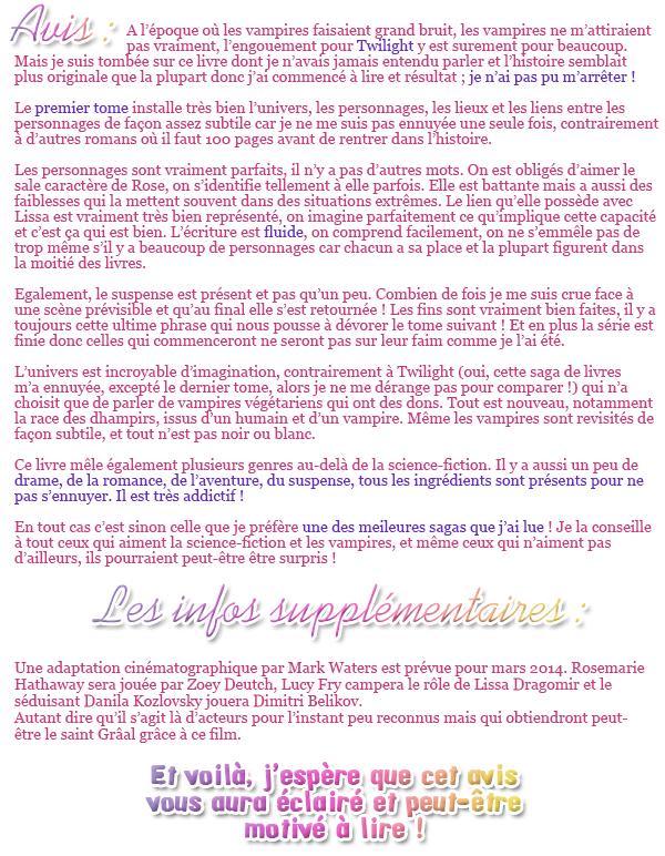 ♦ L'instant lecture de Shiny-Diary : Vampire Academy's saga ♦