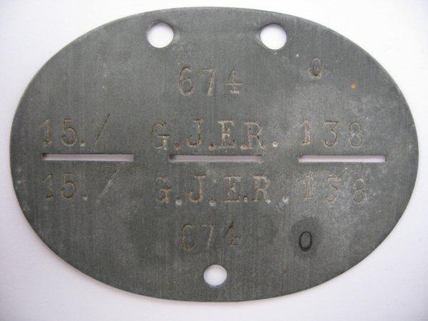 Erkennungsmarke d'un Gebirgsjäger du 138ème régiment de réserve de la 188. Reserve Gebirgs-Division.