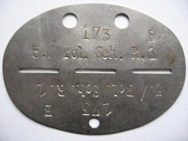 Plaque SS précoce d'un soldat de la Polizei Division qui deviendra plus tard la 4. SS-Polizei Division.