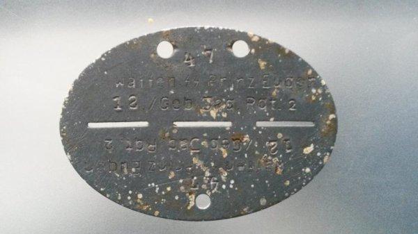 Erkennungsmarke d'un Gebirgsjäger SS de la 7.SS-Freiwilligen-Gebirgs-Division ''Prinz Eugen''