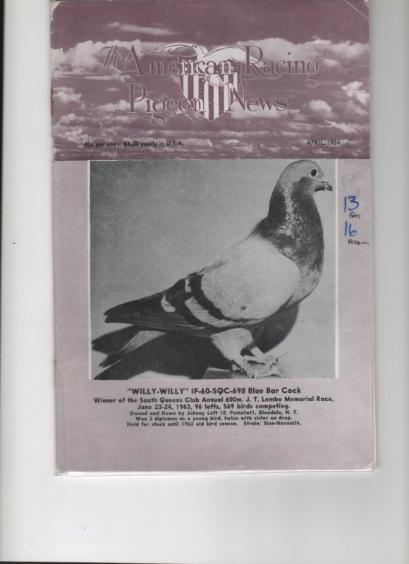 The american Racing Pigeon News  APRIL 1964