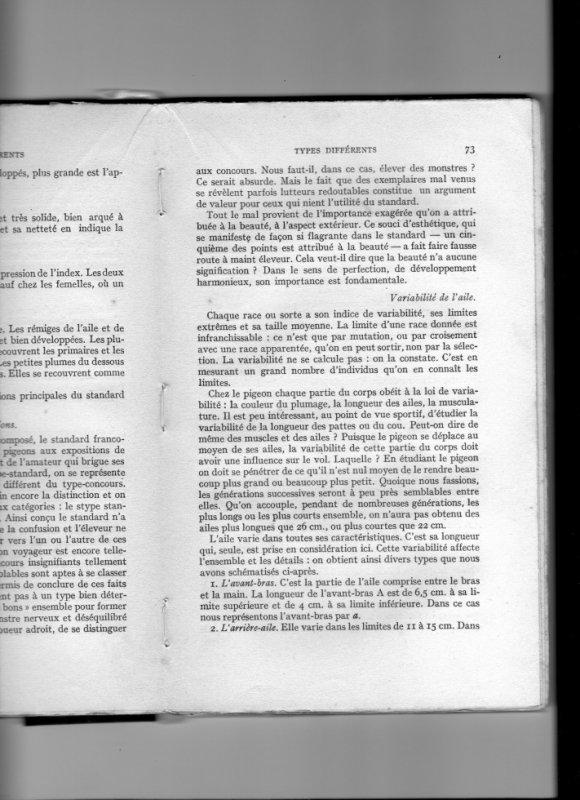 suite ( page 73 du livre le pigeobn voyageur de CG van der Linden