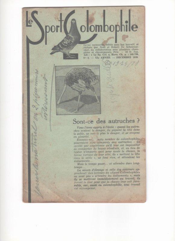 le sport colombophile ( la revue verte ) décembre 1939