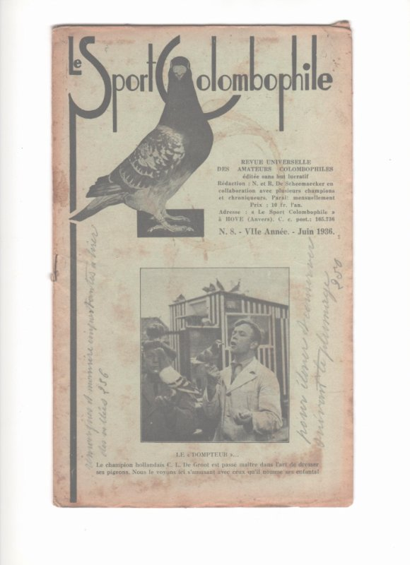 De  duivensport / le sport colombophile édition de JUIN 1936