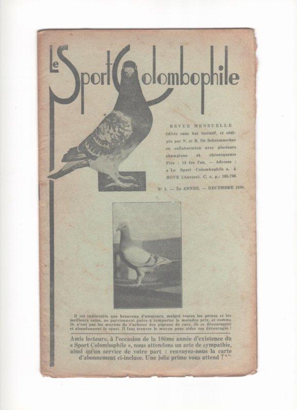 le  SPORT  COLOMBOPHILE  Décémbre  1938