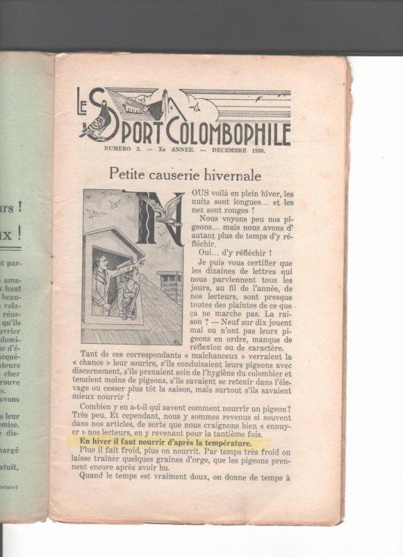 suite  le  Sport  Colombophile  décembre 1938